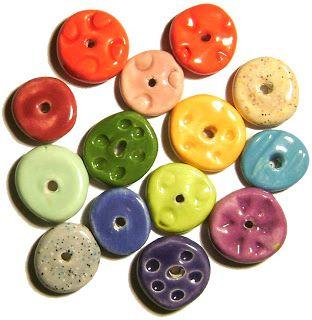 Art by Jen G: Handmade Ceramic Disc beads.