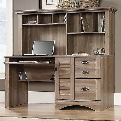 Cottage Style Computer Desk With Hutch, Home Office Table Furniture With  Shelves