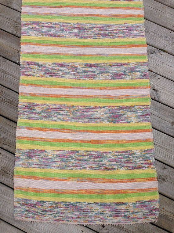 Long 2.84m Vintage Swedish Rag Rug In Tutti Fruiti Yellow Lime Green And  Pinks Pastels Stripey Rag Rug Runner Upcycled 1930s Floor Cover
