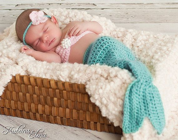 Baby mermaid photo prop Newborn/ Baby Girl Prop/ by WillowsGarden, $45.00 Crochet Mermaid Newborn Mermaid Nautical theme nursery Under the sea nursery