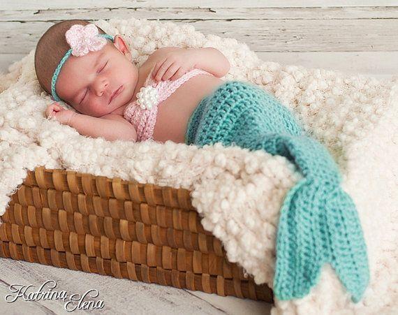 Baby mermaid photo prop Newborn 4 piece setMade by WillowsGarden