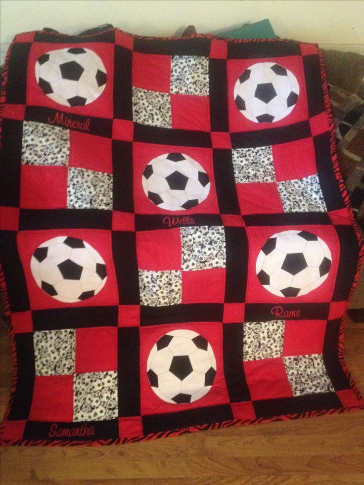 My first real quilt...Sam's soccer quilt...