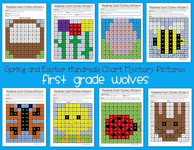 100's Chart Mystery Pictures for Spring and Easter!  My first graders love these.