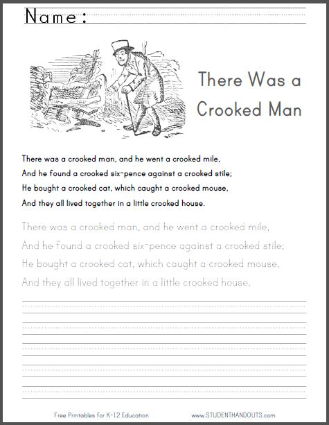 """""""There Was a Crooked Man"""" poem worksheet with print manuscript practice. Comes with a larger-font handwriting practice worksheet featuring just the three pairs of rhyming words."""