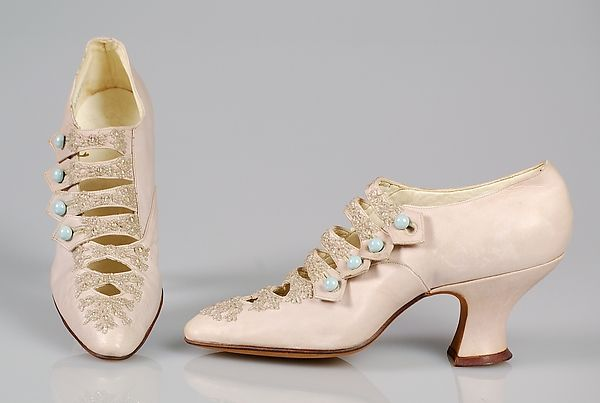 """VanderBiltmore Style"": Evening shoes Department Store: Alfred J. Cammeyer (1849–1913) Date: 1915–20 Culture: American Medium: Leather, beads."