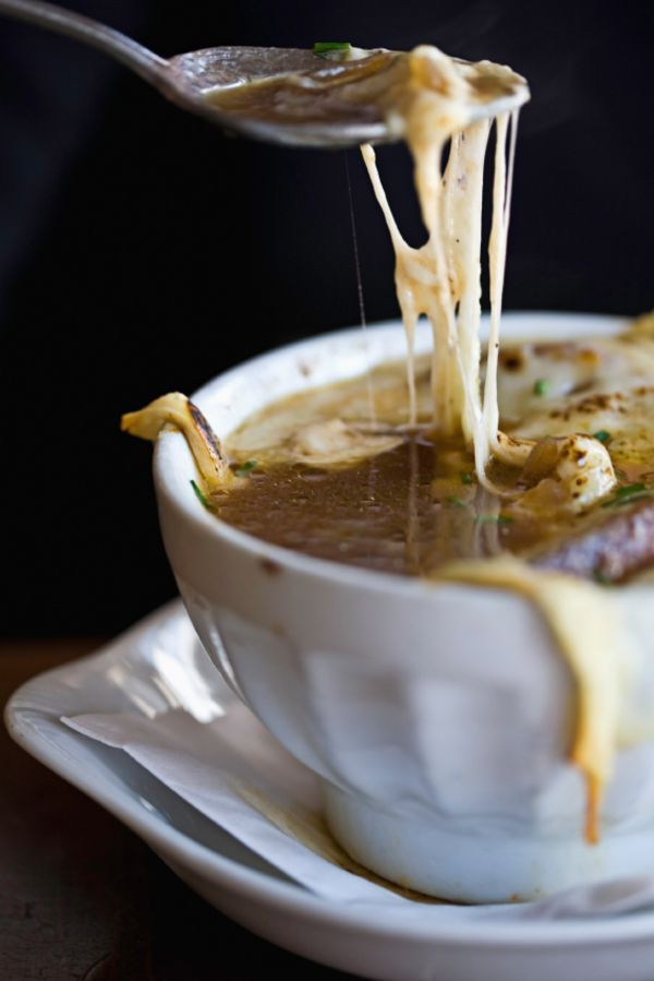 Classic French Onion Soup...perfect to beat the winter blues. Serve with a vintage silverplate soup spoon from http://poshchicago.com/