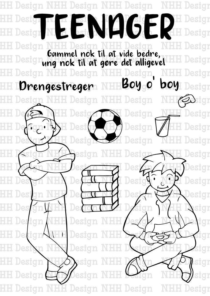stempelsættet Teenage drenge af NHH Design