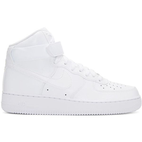 Nike White Air Force 1 High 07 Sneakers ($110) ❤ liked on Polyvore featuring men's fashion, men's shoes, men's sneakers, white, mens white leather shoes, mens high top shoes, mens perforated shoes, mens round toe shoes and mens white shoes