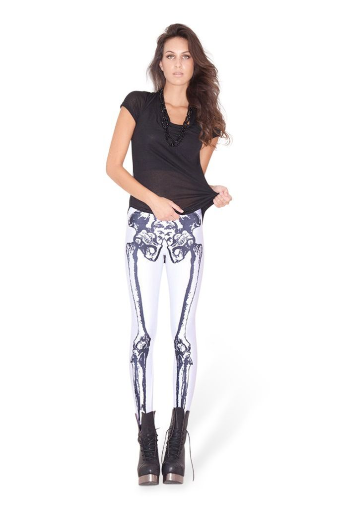 Черно-белые гетры скелет спандекс колготки Black Milk кости ног Леггинсы-Taobao