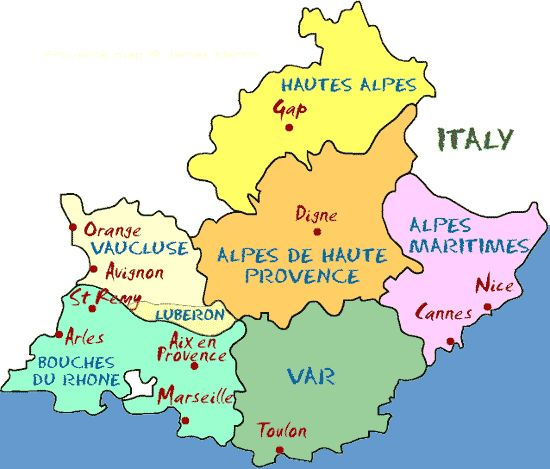 The Departments of Provence    Provence is divided into the six Departments you see on the map: Bouches du Rhone, Var, Alpes Maritimes, Vaucluse, Alpes de Haute Provence, and Hautes Alpes. The departments to the west--Vaucluse and Bouches du Rhone--are bordered on the west by the Rhône river. These two departments are generally what tourists think of when they think of Provence.