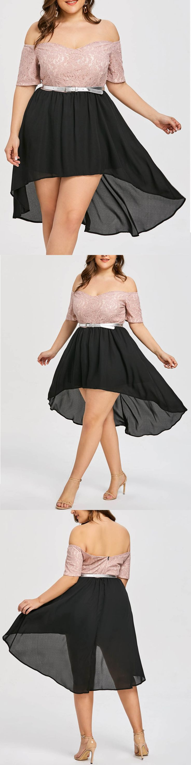 $15.32,Plus Size High Low Off-the-shoulder Cocktail Dress - Black And Pink 3xl | Rosewholesale,rosewholesale.com,rosewholesale clothes,rosewholesale.com clothing,rosewholesale plus size,rosewholesale dress,rosewholesale dress plus size,rosewholesale valentines day,rosewholesale Easter,rosewholesale for women,off the shoulder dress,plus size,lace dress,High Low,cocktail dress,valentines day outfit,valentines day party,dress | #rosewholesale #dress #plussize #offtheshoulder