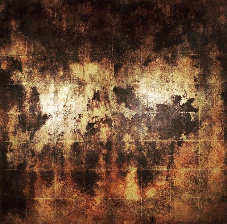 @richard.hoey 'Recusso 2004 100x100 cm gold leaf, bitumen paint, gesso, burn, scouring on panel'