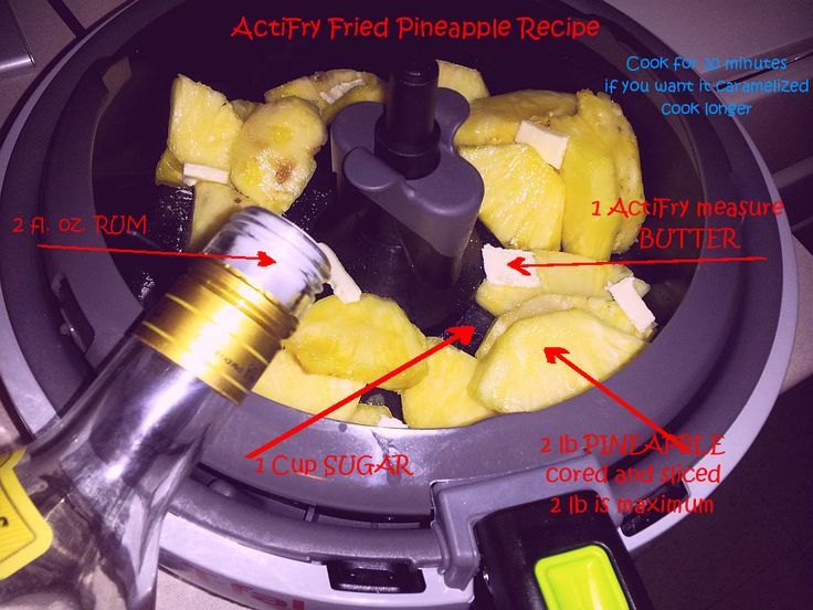 Fried pineapple in an ActiFry T-fal pan. The ActiFry reduces the amount of butter needed, making this delicious treat a healthier one.  In the pan fried variant you need a few times more butter.
