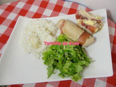 Receitas - Bifes de peru enrolados e arroz de alho - Petiscos.com