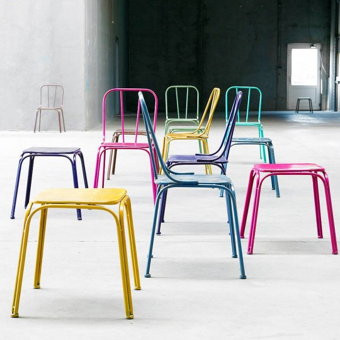 Objects of Design #332: Coloured Metal Chairs and Stools