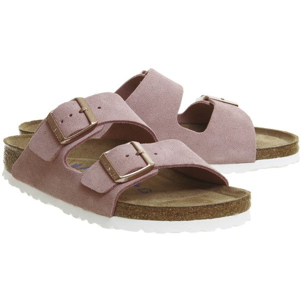 Birkenstock Arizona Two Strap Sandals Rose Suede ($96) ❤ liked on Polyvore featuring shoes, sandals, rose sandals, suede sandals, strappy sandals, suede leather shoes and birkenstock