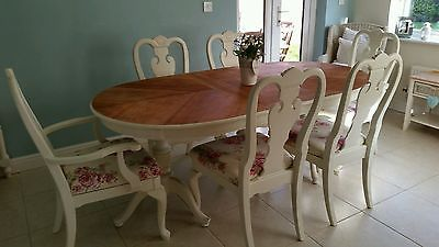 Shabby chic french country table and 6 chairs in Laura Ashley White & Roses
