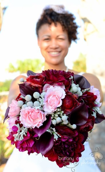 Gorgeous bouquet shot by Brittany Carpenter Photography & Design... love the deep red with the pink! #ELV