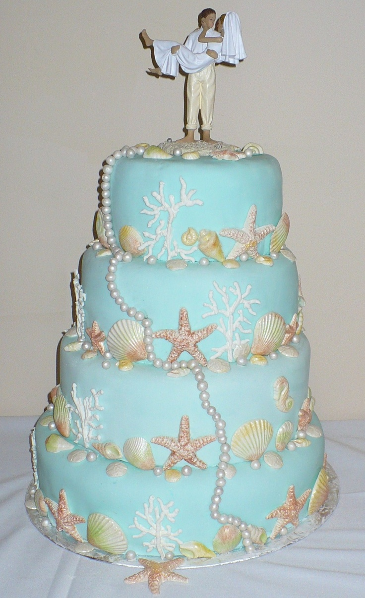 Beach theme wedding cake  This cake is decorated with white chocolate shells dusted with pearl dust in different colors, coral made of royal icing, and pearls individually made from fondant and dusted in pearl dust.  Tiers covered in aqua tinted fondant.: Beige Colors, Chocolates Shells, Beaches Cakes, Pearls Brushes, Beaches Theme Wedding, Beaches Wedding Cakes, Cakes Style, Pearls Dust, Royals Ice
