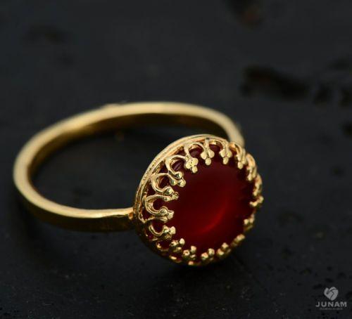 Red Carnelian Ring 18 karat gold plated crown setting detailed edge, flat stone