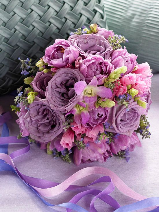 lavender, pink and green