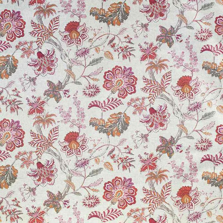 Warwick Fabrics : BRACKLEY in colour Flamingo #warwickfabrics #fabric #floral