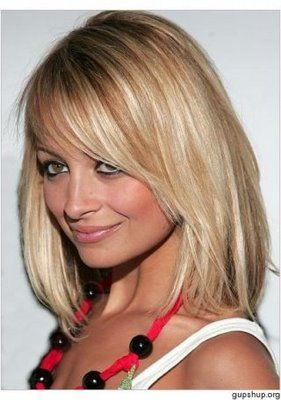 Nicole Richie Blonde Medium Layered Hairstyle With Side Bangs. I want that