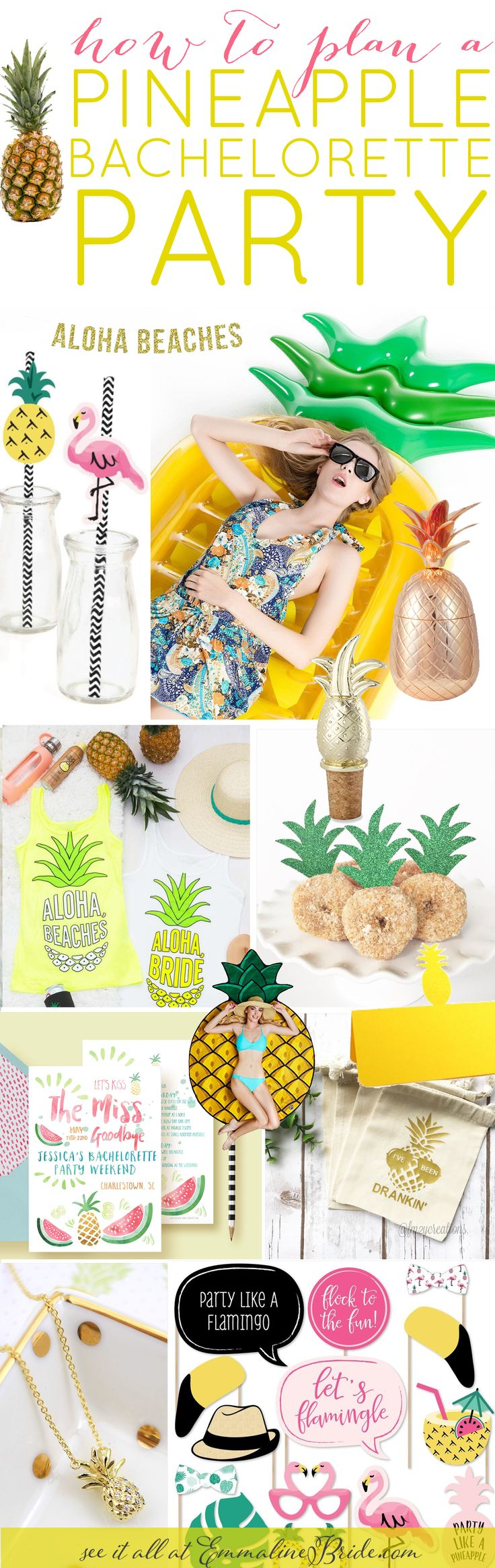 How to Plan an Awesome Pineapple Themed Bachelorette Party | http://emmalinebride.com/bachelorette/pineapple-bachelorette-party-ideas/