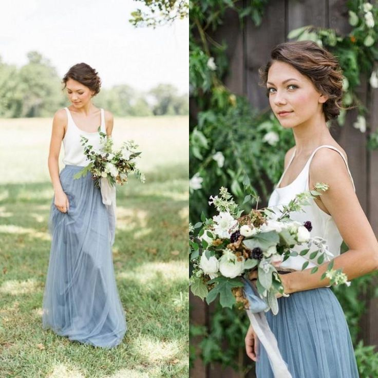 2016 New BHLDN Light Blue Two Pieces Bridesmaid Dresses Soft Tulle Floor Length Country Style Square Neck Beach Cheap Bridesmaid Gowns Online with $50.26/Piece on Nameilishawedding's Store | DHgate.com