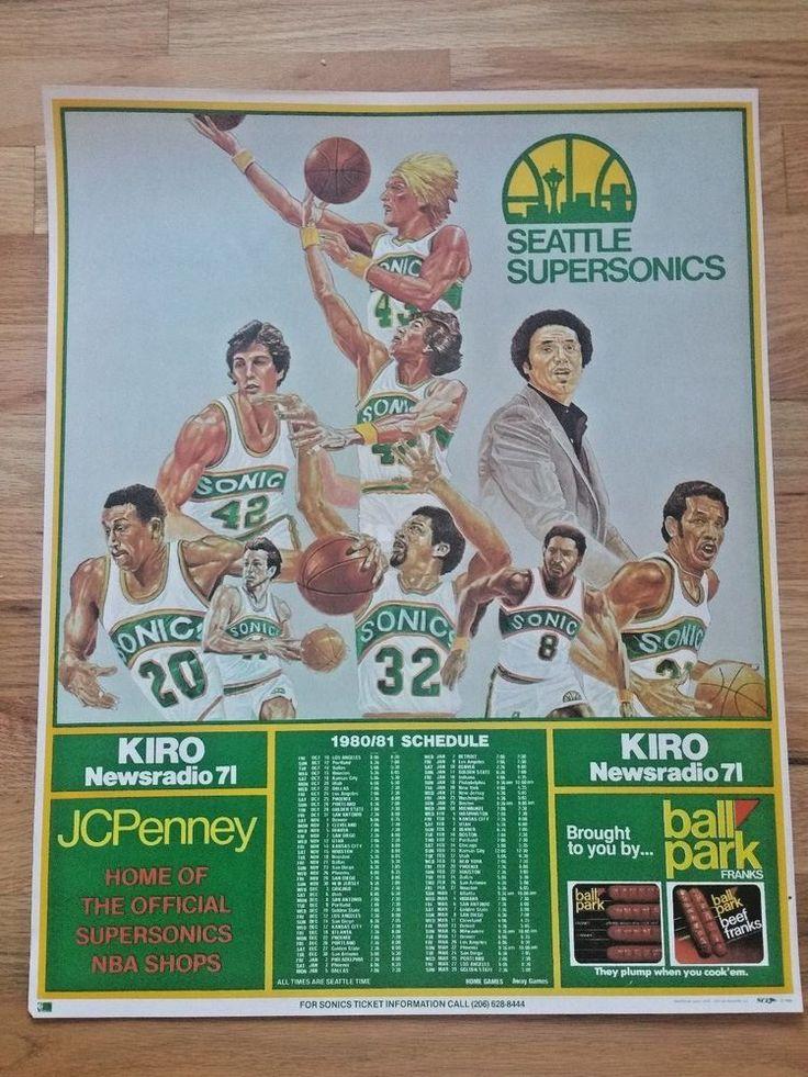 Vtg 1980 1981 SEATTLE SUPERSONICS Sonics PosterTEAM NBA GAME Schedule