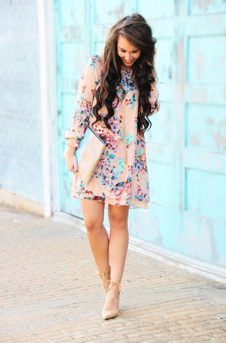I like the colors of this dress and floral pattern for Easter.