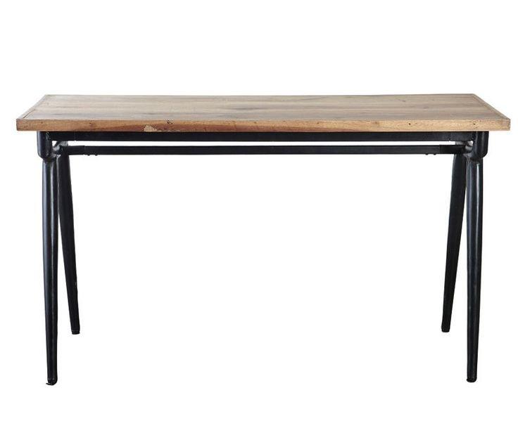 Modern+table+-+Konsol/bord+i+genbrugstræ+og+jern.+Bordet+kan+både+anvendes+som+skrivebord+og+smalt+spisebord.+Råt+design+med+simple+løsninger.