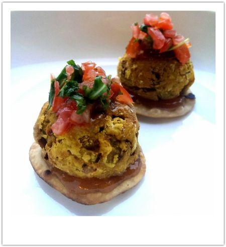 Yummy Bhaji Bites - Onion & Carrot bhaji bites on mini roti from Chickpea Girl - 82 Cals each