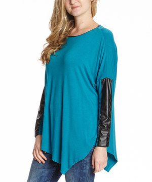 This Teal Faux Leather-Accent Asymmetrical-Hem Top by Colour Works is perfect! #zulilyfinds