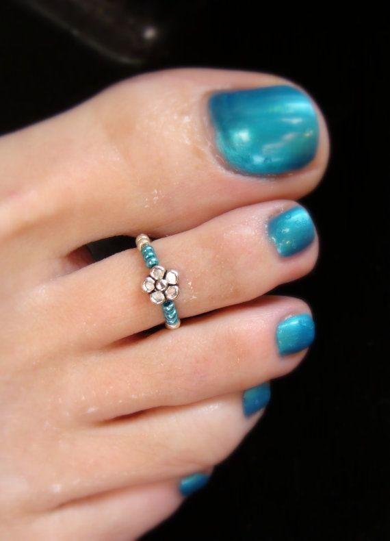Toe Ring - fleur métal argent - métallique cordon extensible Turquoise anneau d'orteil