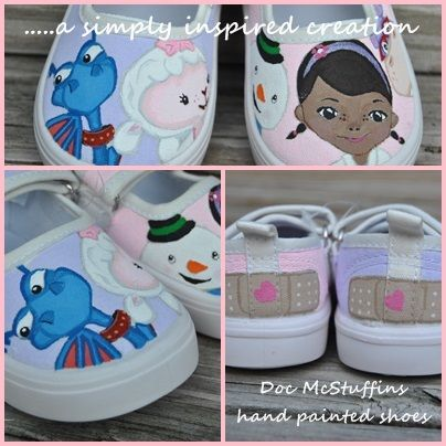 Hand Painted Doc McStuffins shoes I painted for a custom order.