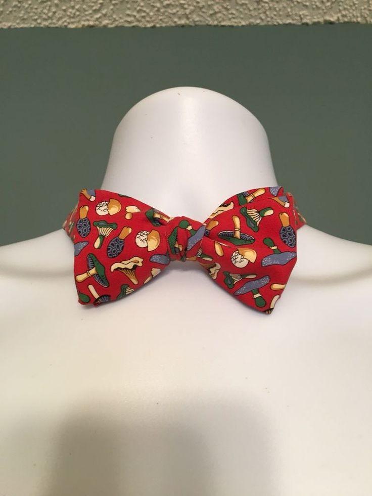 Vintage Alain Figaret Red Bow Tie Mushrooms Adjustable Silk Made In France Rare  | eBay