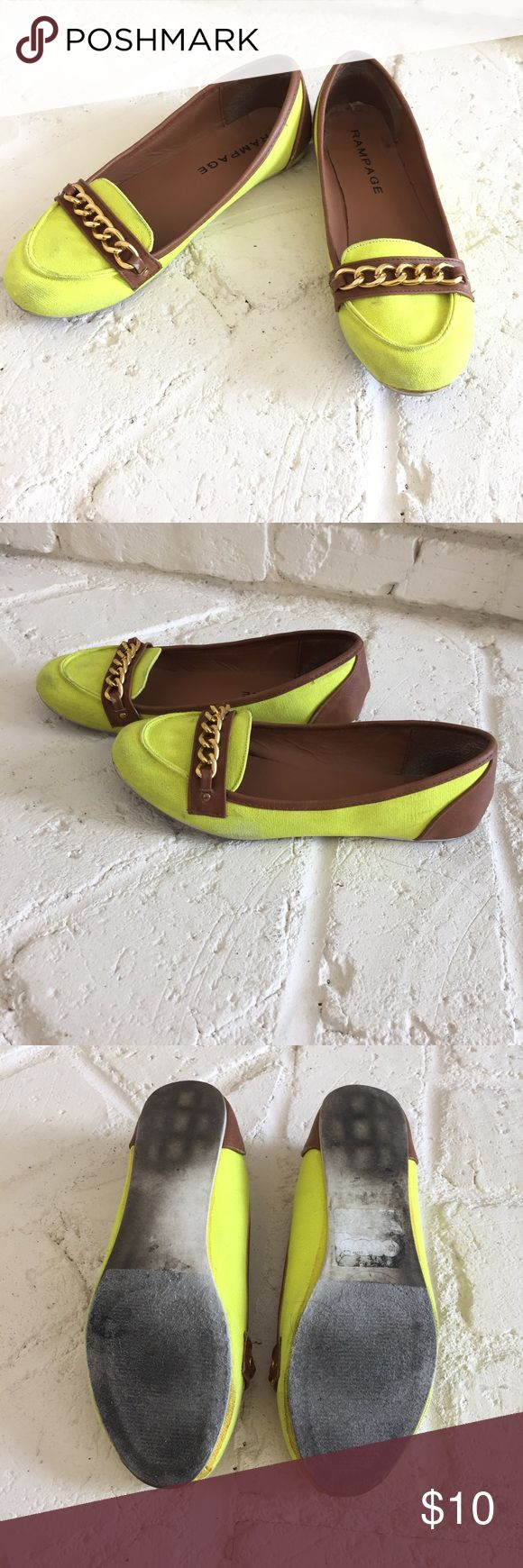 Neon Flats Make a statement with these neon yellow flats - yes, they are really that bright!  Wear to the beach or to the mall!  Canvas and outer faux leather have scuffing.  Feel free to make an offer!  BUNDLE this for extra savings! Rampage Shoes Flats & Loafers