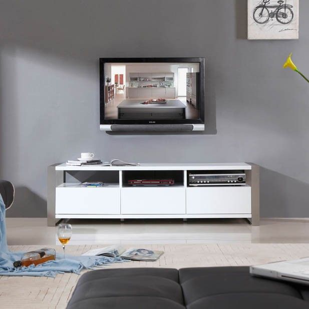 Stylist Tv Stand In White High Gloss And Brushed Stainless Steel