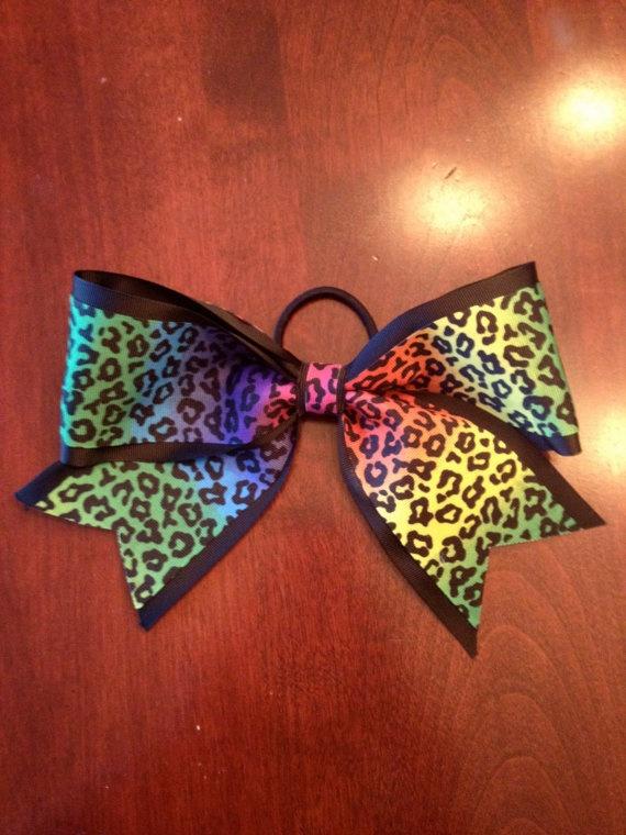 Rainbow Cheetah Cheerleading Hair Bow by KaitsCheerBows on Etsy, $6.00
