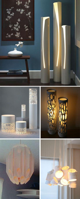 изящные напольные светильники и абажуры из пластиковых труб