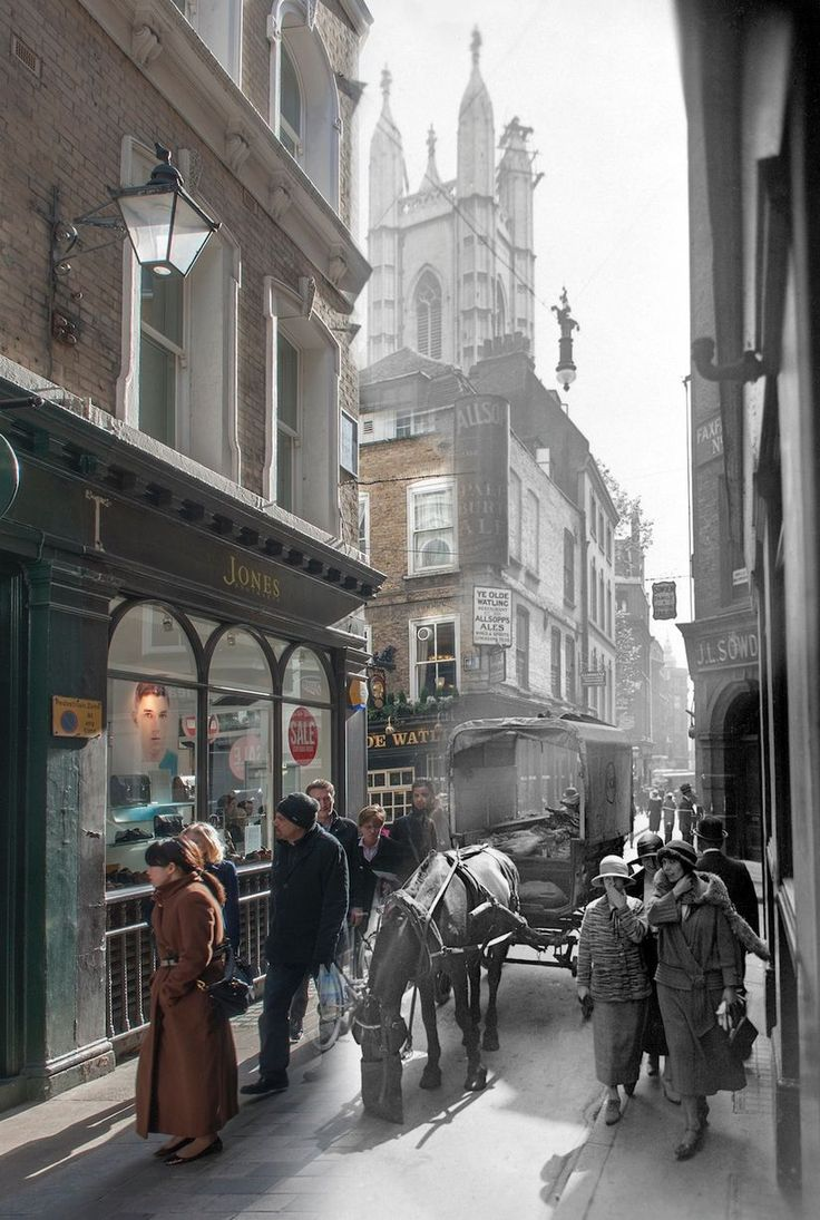 Past to Present - A view of Bow Lane off Cheapside, looking south to the crossing with Watling Street and St. Mary Aldermary Church