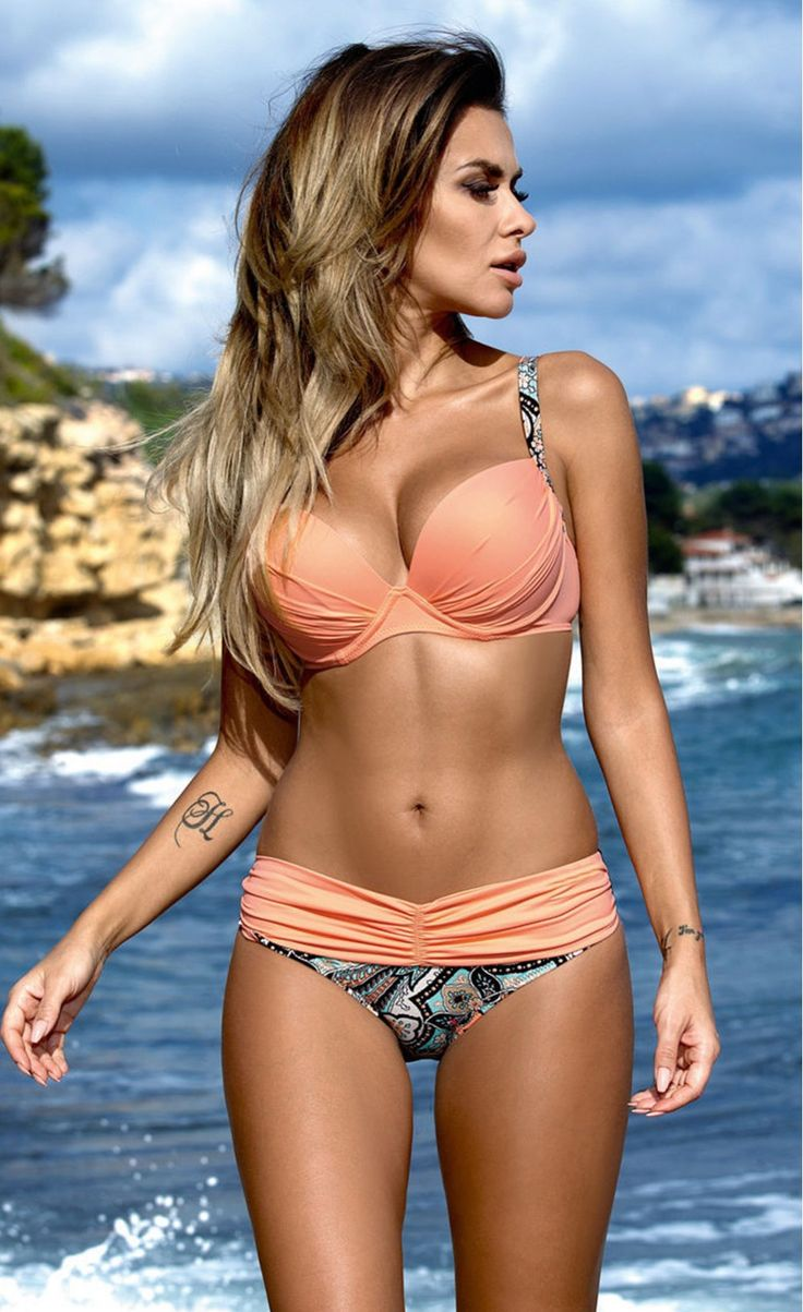 Pink Padded Gather Push-up Bikini Set