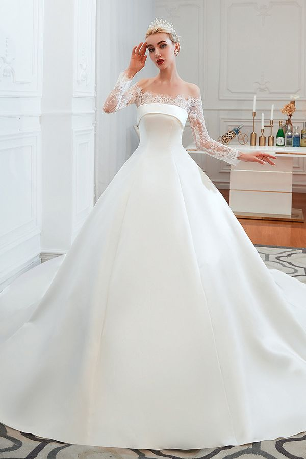 130 19 Long Sleeves Ball Gown Off The Shoulder Lace Satin