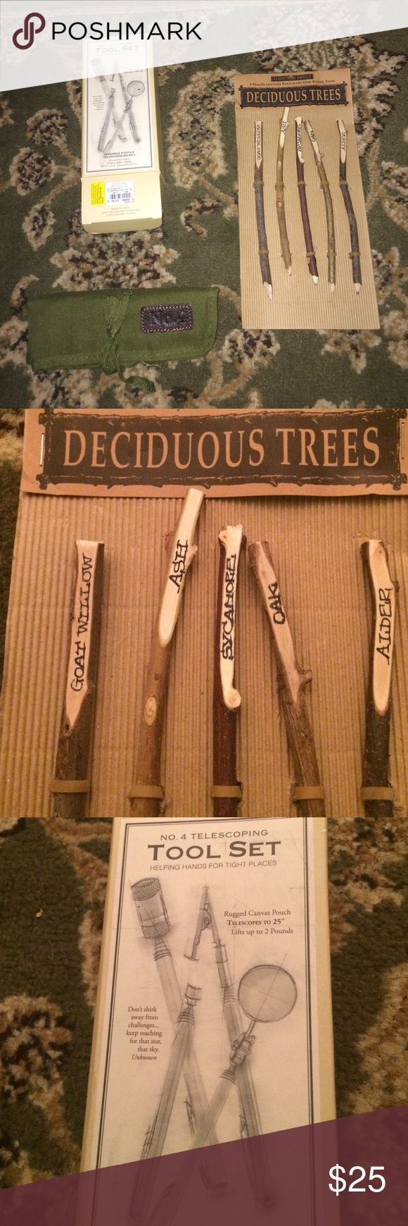 Eclectic Desk Decor Bundle Rustics deciduous tree pencils and mini tool set. Never used. Bought at Restoration Hardware. Anthropologie Other