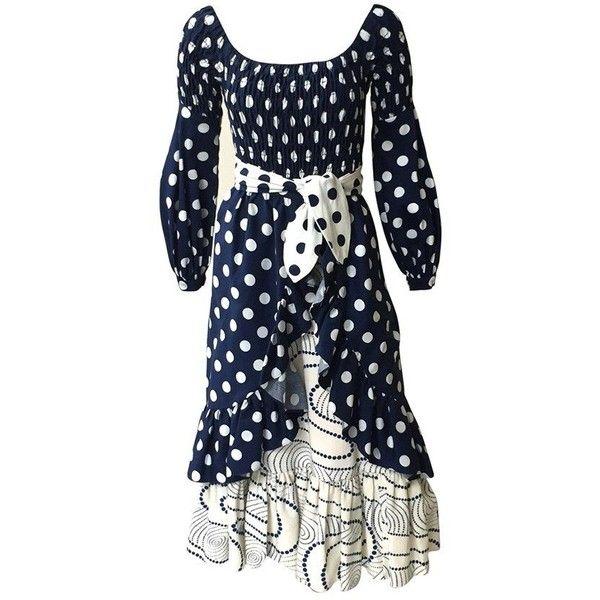 Preowned Oscar De La Renta 1970 Polka Dot Harper's Bazaar Dress Cover... ($800) ❤ liked on Polyvore featuring dresses, aesthetic evening dresses, black, polka dot dress, peasant dress, preowned dresses, elastic dress and polka dot sleeve dress