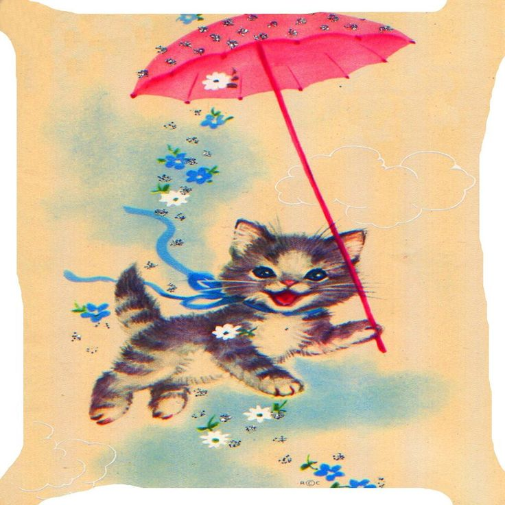 Cat Kitten Play Flower Garden Umbrella Funny Kitty Pet Pillow Cushion Cover 18 Animal Pillows Vintage Cat Cats Illustration