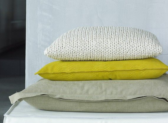 Piet Boon Styling by Karin Meyn | Pillow structures Different materials mix, and less/more color choice.