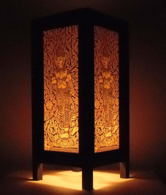 Thai handmade asian oriental angel paper lamp bedside for Thailand home decor