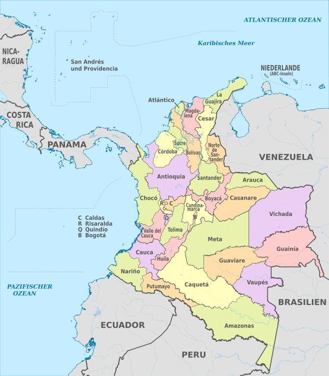 Mapa con los departamentos de Colombia